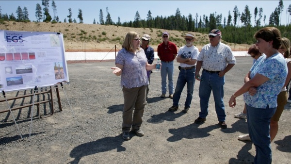 Members of the La Pine Chamber of Commerce and other local officials and staff visit the Newberry Geothermal Demonstration