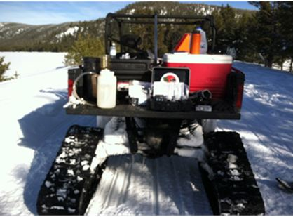 Transportation is a must! With 4-5 feet of snow in some areas, a tracked vehicle with enough storage for our field sampling gear is a must. Here we're getting set up to sample water from the hot springs at East Lake.