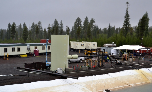 Setting up for the flow test on a drizzly day in late November, 2014.